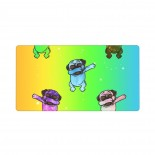 Rainbow Watercolor Galaxy Pug Dabbing Mouse Pad 15.8x29.5 in Pad Mat Laptop Gaming Home Office Computer Accessories Rectangle Non-Slip Rubber Mousepad,Suitable for suitable for desktop 03.cm x 40cm x 75cm